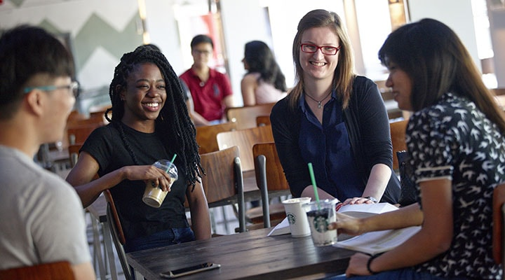 Students in cafe on campus at Cardiff University